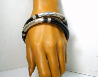 Vintage Black Coral & Silver Bangle Bracelet, Large Size and Thick, 1980s Authentic Chinese Asian Collectible, Price is For ONE