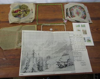 Small lot of vintage needlework projects 1940s plus wire frames