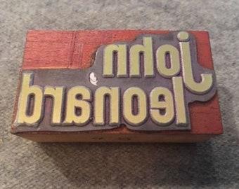 Vintage Letterpress Printers Block John Leonard Name Word Logo Type Stamp