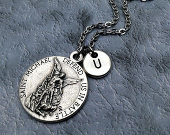 Saint Michael Necklace / Defend Us in Battle / United States Army /  St Michael Necklace / Protection Necklace / Christian Jewelry