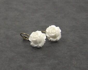 Optional snow white or ivory rose earrings bronze