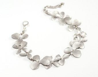 Matte Silver Orchid Bracelet- Jewellery- Vintage Flower Floral Charm - Premium Bracelet, Wedding Bridal Bridesmaid Jewelry