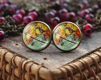 World Map Globe stud earrings, Earth earrings, Earth Jewelry, Globe earrings, Map Jewelry, vintage globe earrings, Antique Map earrings