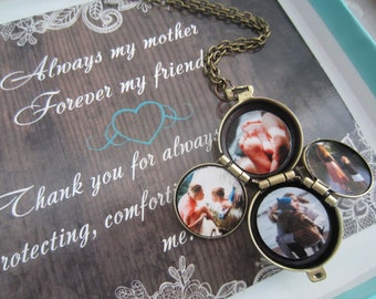 Mom locket, locket for mom, Four picture locket, 4 way locket,family locket, four way locket, gemstone locket