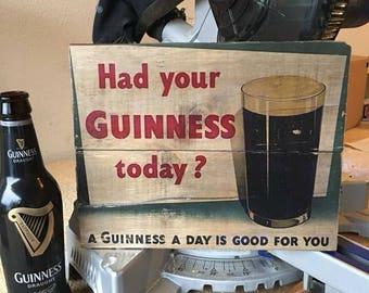 Custom Printed Wooden Vintage Guinness Sign