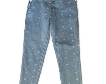 90s Capri Jeans Floral Embriodered High Waist Cropped Pants size 27