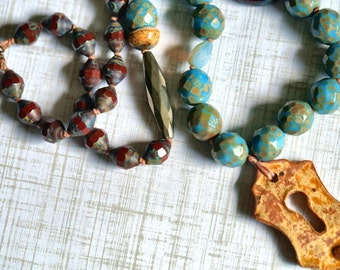 Keyhole Necklace - Dragonfly Necklace - Rustic look jewelry - Ceramic - Bead Soup Jewelry