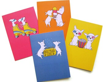 Chihuahua Buddies Notecards Set of Four Blank Cards & Coordinating Stickers