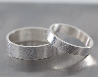 Sterling Silver Wedding Rings|Sterling Silver Wedding Bands|Couples Gift|Couples Rings|Sterling Silver Leaf Rings|Silver Leaf Rings