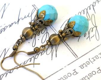 turquoise boho earrings dangle earrings turquoise gemstone earrings beaded dangle earrings bronze earrings bohemian earrings stone earrings