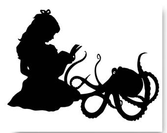 Octopus Story Time Nautical Silhouette Black and White Beach House Decor Ocean Reading Squid Lovecraft
