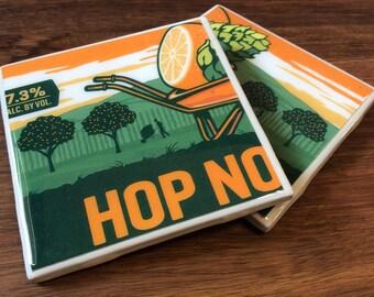 Tile Coasters | Set of 2 | Unitas Hop Nosh | Craft Beer