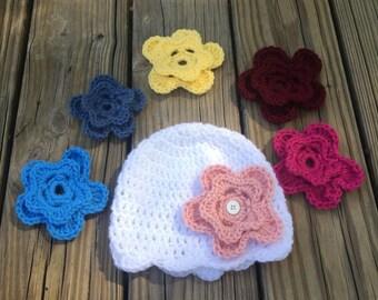 Changeable flower crochet hat, girls hat, crochet hat, changeable flower, crochet flower hat, girls accessories, winter hat, crochet, hat