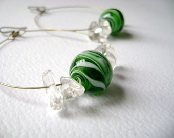 Vintage inspired earrings Timeless - green and white lampwork glass and quartz stones