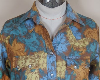 1960s Womens Western Shirt by Porter, Fitted, Pearlized Snaps