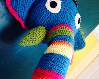 Crochet elephant faux taxidermy