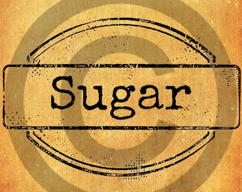 Primitive Digital Art- Sugar-Mason Jar Label- Pantry Jar-Label JPEG File Instant Download