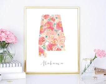 Alabama Watercolor Floral Print - 8x10, 16x20 Print  - DIY Printable - Digital Download Print - Chic Wall Decor - Watercolor Flowers - State