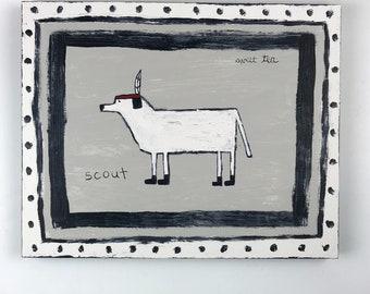 Original Folk Art Painting of a Dog