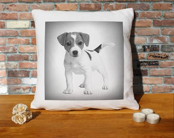 Jack Russell Terrier Dog Puppy Pillow Cushion - 16x16in - White