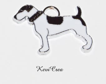 2 x charms dog black and white enameled metal