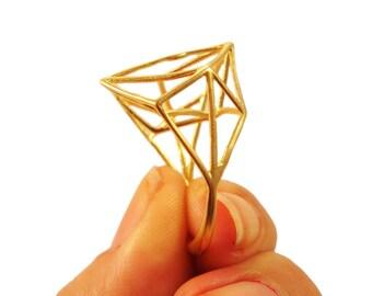 Geometric Minimalist Brass Ring
