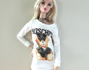 Mini Dress Inspried by Moschino,for Barbie Fashion Royalty FR2 and another 1/6 scale doll.