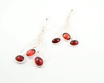 Pomegranate earrings Sterling silver handmade errings