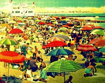 Beach Umbrella Print, 8x10 Coastal Wall Art, Beach Bedroom Art