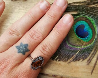 Fire Agate Electroformed ring. Copper Stackable boho earthy jewelry size 8