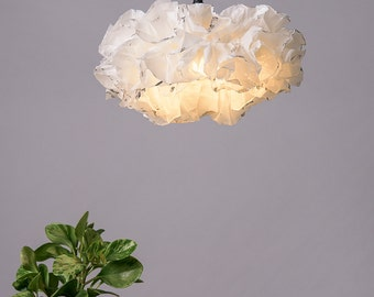 White Silver Pendant Lamp, White Light Fixture, Ceiling lighting, Living room Soft Warm light