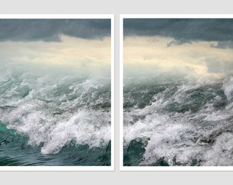 Diptych Abstract art print set of 2 prints, Stormy sea waves art, Nautical decor set of photography oversized art abstract wave wall art