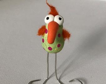 FREE US SHIPPING Green Pink and Orange Kiwi Bird Polymer Clay Miniature Figure Figurine Gift Ooak