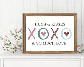 Hugs & Kisses | Valentine's Day Wall Art