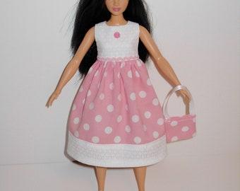 Handmade barbie clothes, CUTE dress and bag for new barbie curvy doll