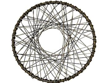 2 round pendants mesh bronze antique 5.1 cm