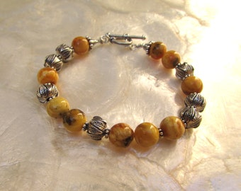 baltic butterscotch egg yolk white amber bracelet silver with karen hill tribe beads sterling