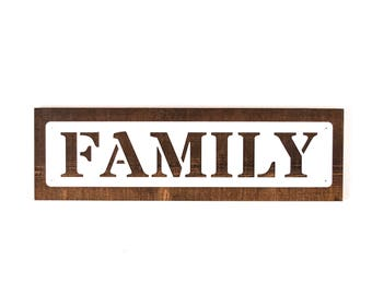Family Sign / Distressed Wood Family Sign / Family Wall Sign / Family Metal Wall Sign / Family Decor