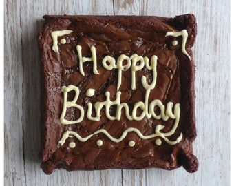 Big Celebratory Cookie/Brownie/Blondie Square with a Personal Message of Your Choice Written in Flavoured Buttercream Icing