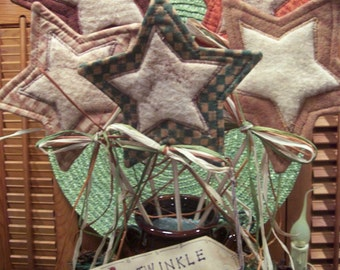 Primitive Whimsical Country Fall Autumn STARS Plant Pokes Crock Fillers Ornies