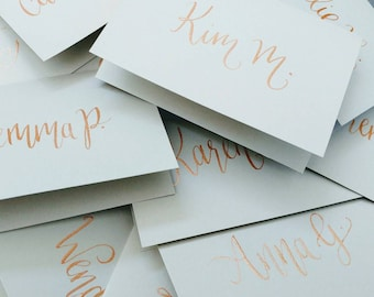 Rose Gold and Dove Grey Wedding Place Name Card Calligraphy