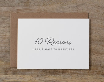 10 Reasons I Can't Wait To Marry You, Groom Card, Bride Card, Wedding Card to Bride or Groom, Card To My Groom, To My Bride, K1