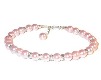 ROSALINE PINK Pearl Bracelet Sterling Silver Bride's Bridal Swarovski Elements