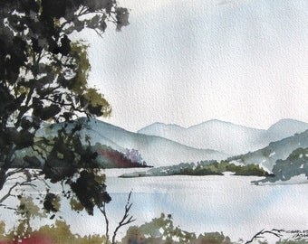 Misty Morning Lake - Original Watercolor Painting