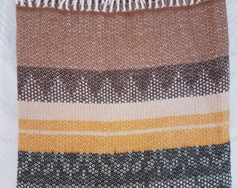 NEW 100% Alpaca Wool Rustic Yellow Brown Green Blanket Throw