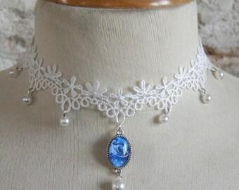 Baroque, Victorian Necklace: Blue