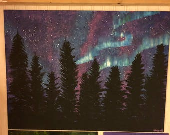 Northern Lights Over Forest