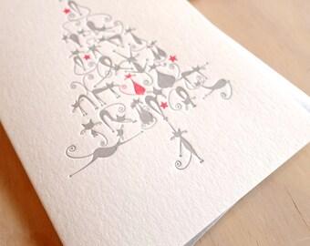 animal de compagnie carte pamperer, carte de chat, carte pour les amoureux des chats, chats de carte de Noël de typographie, chats mignons de Noël, arbre de Noël. Dame folle de chat
