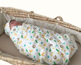 40% off thru June 30, organic swaddle set, animals nursery decor, infant hospital gift, baby topknot hat, baby swaddle set