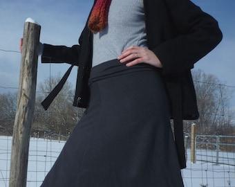 Organic Merino Wool Ruffle Skirt Winter Knee Length Skirt Womens Organic New Zealand Merino Sweater Skirt Eco Conscious Clothing